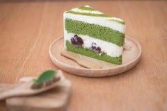 Japanischer matcha Kuchen des grünen Tees Stockfotos