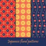 Japanischer Mustersatz Nahtlose Blumengewebebeschaffenheiten stockfotografie