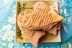 Japanischer traditioneller Fisch-förmiger Kuchen, Taiyaki Lizenzfreies Stockfoto