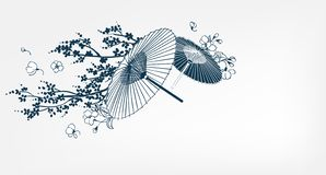 Japanischer traditioneller Vektorillustrationsregenschirmkirschblüte-Kartenhintergrund lizenzfreie abbildung