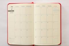 Japanischer Zeitplanbuch Juli-Seitenbeschaffenheitshintergrund Lizenzfreies Stockfoto