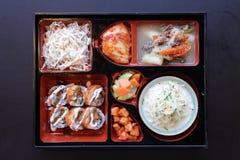Japanisches Bento Mittagessen Kasten Schnellimbiß mit geräuchertem Aal und Gemüse Lizenzfreies Stockbild