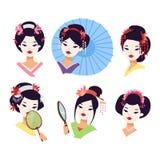 Japanisches Geishamädchen des Vektors Stockbild