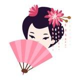 Japanisches Geishamädchen des Vektors Stockfotografie