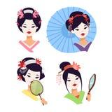 Japanisches Geishamädchen des Vektors Lizenzfreie Stockfotografie