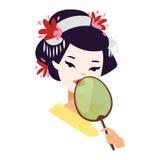 Japanisches Geishamädchen des Vektors Lizenzfreies Stockbild