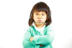 Japanisches kleines Mädchen der schlechten Stimmung Stockbilder