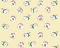 Japanisches Lebensmittel, nahtloser Musterhintergrund der Karikatur Stockbilder