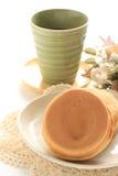 Japanisches Lebensmittel, süßer Wannenkuchen Imagawayaki Lizenzfreies Stockfoto