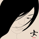 Japanisches Mädchen. Ðieroglyph   Stockbild