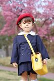 Japanisches Mädchen in der Kindergartenuniform Lizenzfreies Stockbild