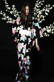 Japanisches Mädchen im traditionellen japanischen Kimono, Griffzweige von ch Lizenzfreies Stockbild