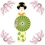 Japanisches Mädchen mit Regenschirm Stockfotografie