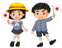 Japanisches Mädchen und Junge, die Flagge hält Stockfoto