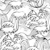 Japanisches nahtloses grafisches Wellenmuster Stockbilder