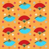 Japanisches nahtloses Muster der Fans und der Blumen Stockfoto
