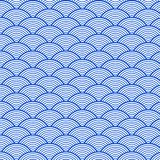 Japanisches Retro- blaues Seewellenmuster Lizenzfreie Stockfotografie