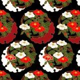 Japanisches rotes und weißes Kamelienblumenmuster Lizenzfreies Stockfoto