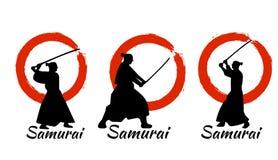 Japanisches Samurai-Kriegers-Schattenbild Auch im corel abgehobenen Betrag Lizenzfreie Stockfotografie