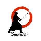 Japanisches Samurai-Kriegers-Schattenbild Auch im corel abgehobenen Betrag vektor abbildung