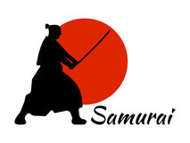 Japanisches Samurai-Kriegers-Schattenbild mit katana Klinge auf rotem MO Lizenzfreies Stockfoto