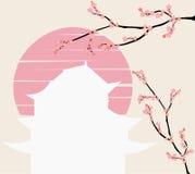 Japanisches Schloss und rosa Blumenniederlassung bei Sonnenuntergang vektor abbildung