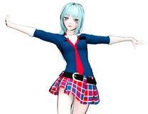 japanisches Schulmädchen des Anime 3D Lizenzfreie Stockfotografie