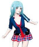 japanisches Schulmädchen des Anime 3D Stockbild