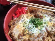 Japanisches Schweinefleisch-Kotelett auf Reis Stockbilder