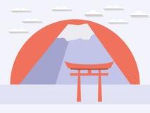 Japanisches Tor Japanischer Berg Symbol von Japan in einem flachen styl Stock Abbildung