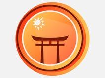 Japanisches Tor Torii Tor shinto E Vektor Lizenzfreie Stockbilder