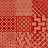 Japanisches traditionelles rotes Muster-Set lizenzfreie abbildung