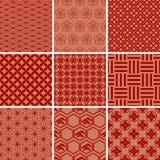 Japanisches traditionelles rotes Muster-Set Lizenzfreie Stockfotografie