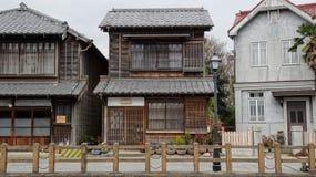 Japanisches und West-Buidings in Sawara-Stadt Lizenzfreies Stockfoto