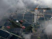 Japanner raiden vechtersvliegtuig en de Bommenwerper van de V.S. Stock Afbeeldingen