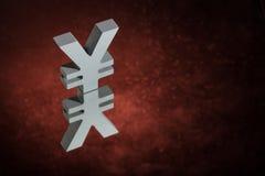 Japanner van Chinees Valutasymbool of Teken met Spiegelbezinning over Rood Dusty Background stock afbeeldingen