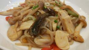 Japannese noodle dish. Japanese menu, fried noodle with mushroom and Stock Image