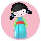 Japans Aziatisch meisje Dol vector illustratie