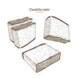 Japans biscuitgebak - castella De hand trekt vector royalty-vrije illustratie