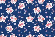 Japans Blauw Cherry Blossom Seamless Pattern stock foto