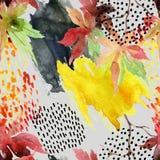 Japans de esdoornblad van de de herfstwaterverf en krabbel naadloos patroon Royalty-vrije Stock Foto