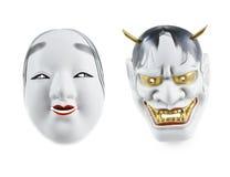 Japans die masker over witte achtergrond wordt geïsoleerd Stock Afbeeldingen