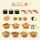 Japans die voedsel in uitstekende stijl wordt geplaatst Land van de het toenemen zon Japanse keuken Royalty-vrije Stock Afbeeldingen