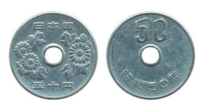 50 Japans die Yenmuntstuk op wit wordt geïsoleerd Royalty-vrije Stock Afbeelding