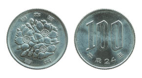 100 Japans die Yenmuntstuk op wit wordt geïsoleerd Stock Afbeelding