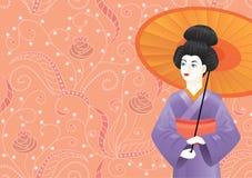 Japans Geishameisje die kimono op roze patroon-achtergrond dragen Stock Foto