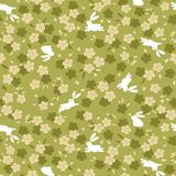 Japans Groen Cherry Blossom And Rabbit Pattern royalty-vrije illustratie