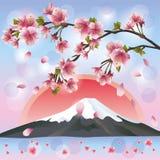 Japans landschap met berg en sakura stock illustratie