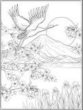 Japans Landschap met Onderstel Fuji en traditiebloemen en B vector illustratie