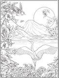 Japans Landschap met Onderstel Fuji en traditiebloemen en B royalty-vrije illustratie